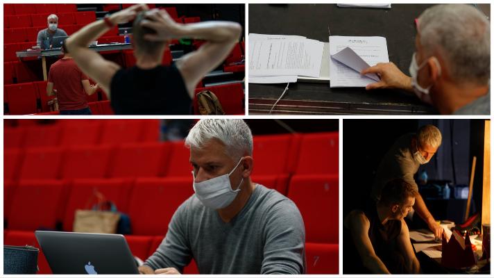 collage de photos de répétitions Mais regarde toi par le collectif quatre ailes avec Frédéric Chevaux